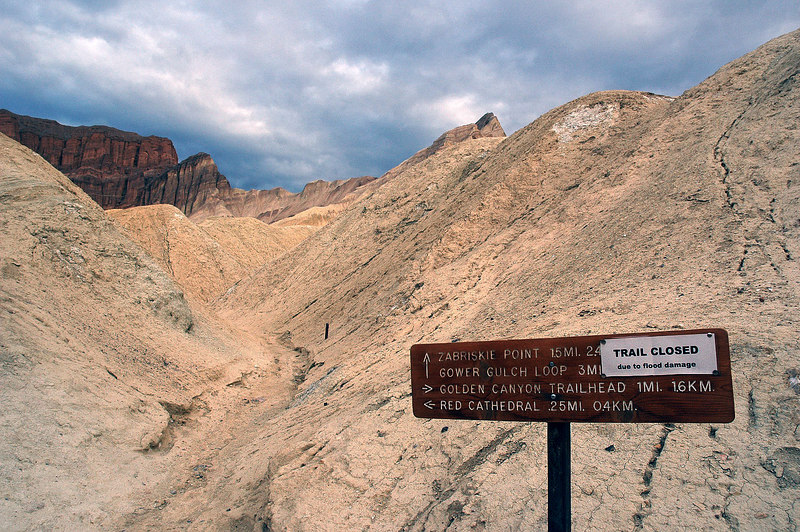 Sign said the trail to Zabriskie Point was closed due to flood danage. I still hiked up it a couple hundred yards to get a shot of Manly Beacon