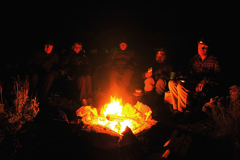 A group shot taken by fire light. Cori is the blurry one, she moved during the long exposure.  Cori and Jay got back to camp a couple of hours after we did. Mt Palmer is a long and hard hike.