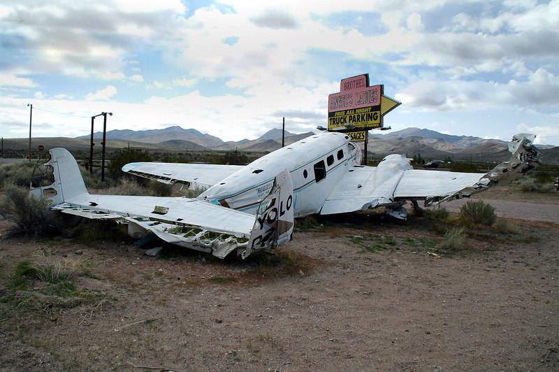 Just off Hwy 95, saw this old Beech C-45 that was a lawn ornament for a brothel.