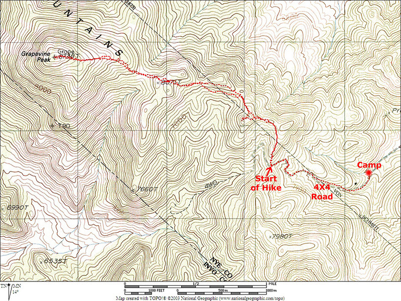 Map showing our route to Grapevine Peak which is close to the Calif/Nevada border.<br /> <br /> THE END
