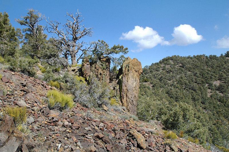 Cool looking rocks as we skirt one of the peaks on the ridge.