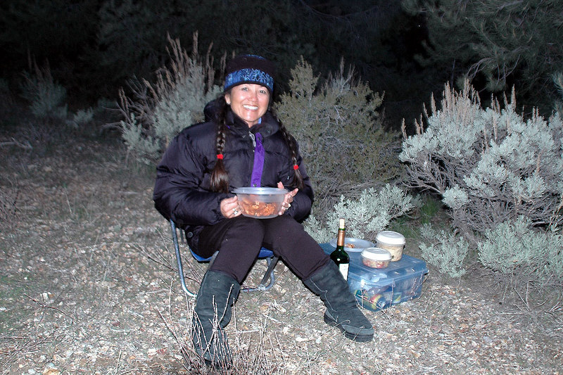 Cori having dinner. She was here to hike Mount Palmer with Jay.