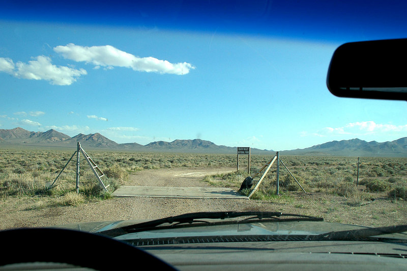 Seven miles in crossed this cattle guard entering Death Valley Nat'l Park.