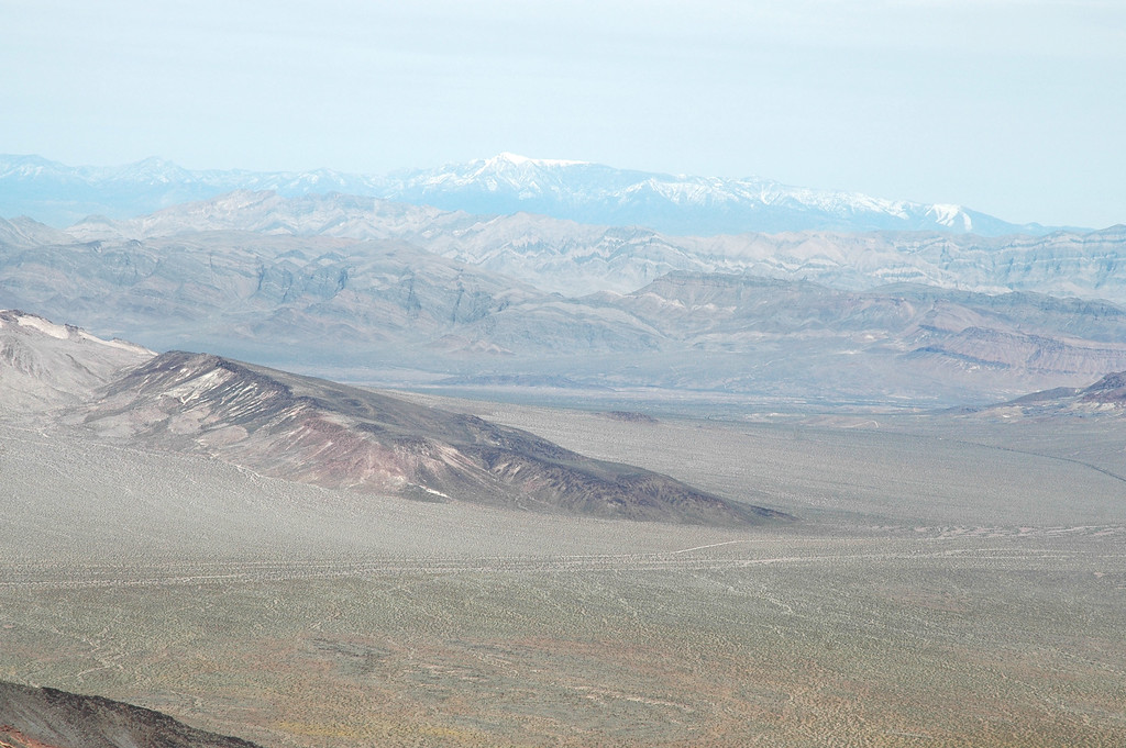 Zoomed in on Nevada's snow covered Charleston Peak.