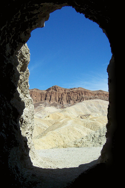 Looking out from inside the mine.