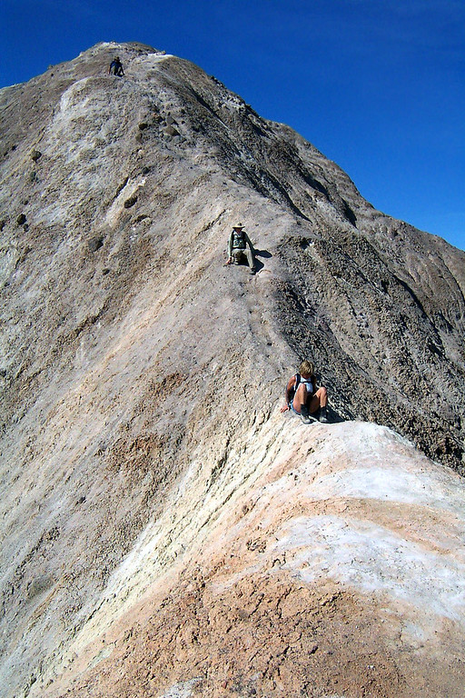Sooz is sitting on the narrowest part of the ridge. This shot shows how steep the sides are. It's a long way down.