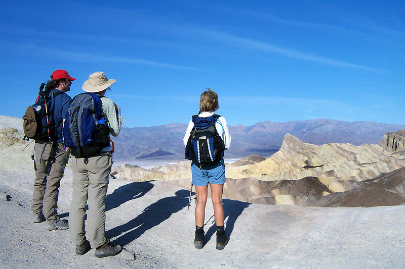 At Zabriskie Point. Yesterday we hiked to the top of Wildrose Peak, today's plan is to climb Manly Beacon, the pointy one. It was going to be a short hike, but we weren't sure we would be able to make it to the peak.