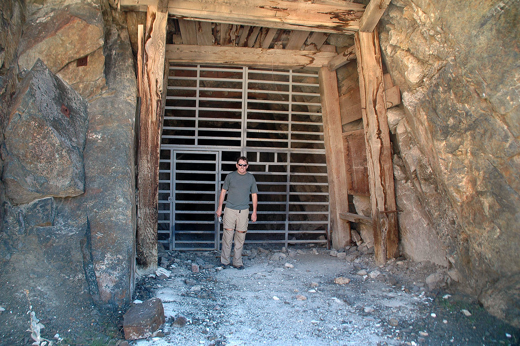 John at the mine's entrace. Would have loved to be able to explore this mine, heard that it has a lot of tunnels.