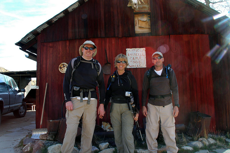 John, Sooz and me, Joe ready for the hike to Manly Peak.