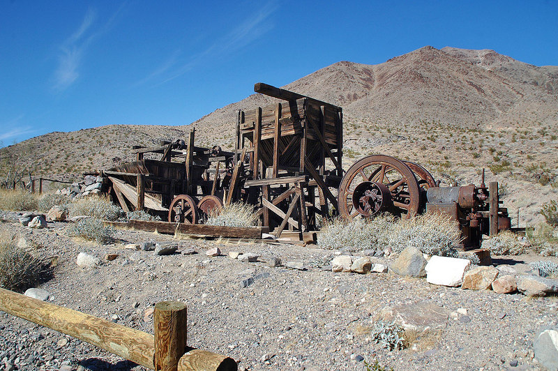 The Gold Hill Mill at the Warm Springs mining camp.