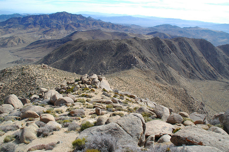 Looking down the ridge to the saddle.