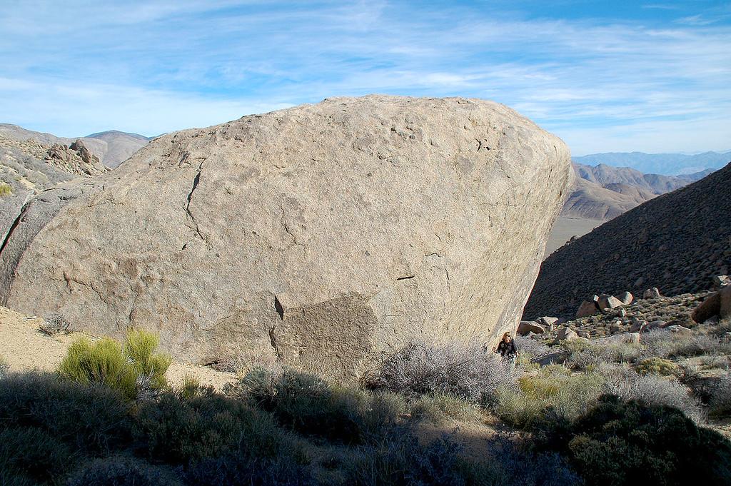 Sooz along side a big rock as we near the saddle.