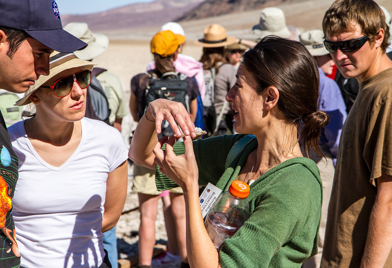 Field trip to Mars analog site of Badwater.  Dr. Rosalba Bonaccorsi showing sample.