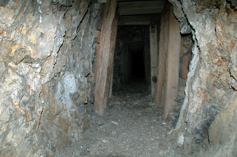 Looking into the mine tunnel.