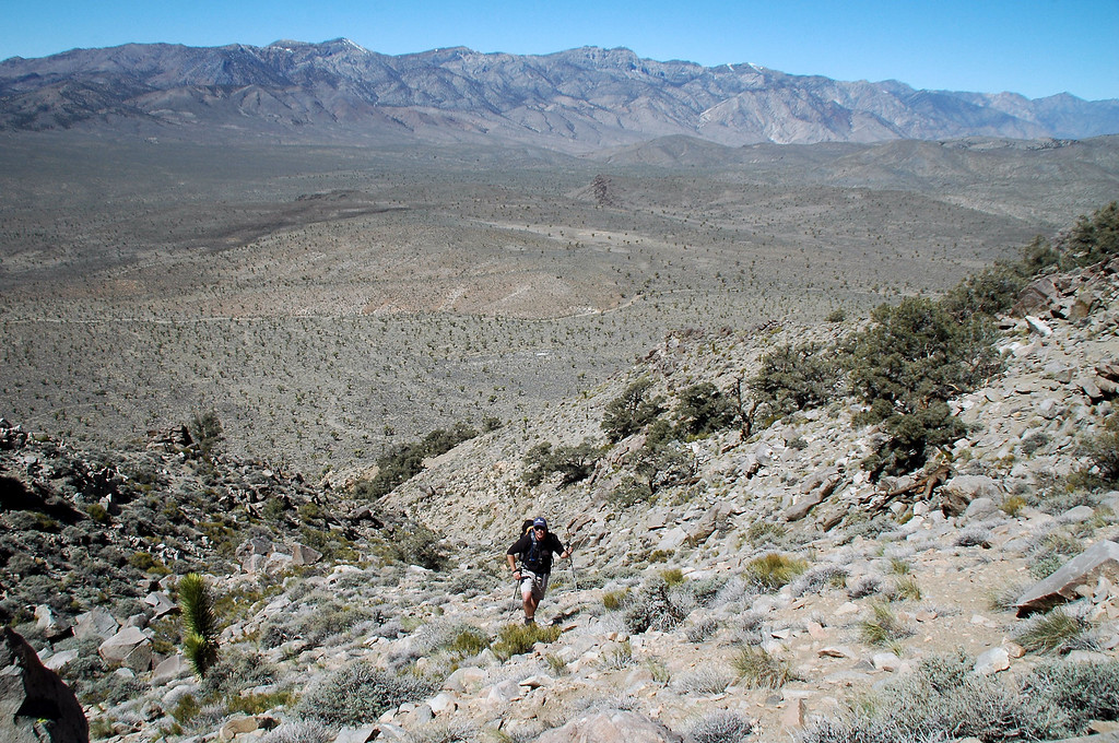Looking back at Chip with the Inyo Mountains in the background.