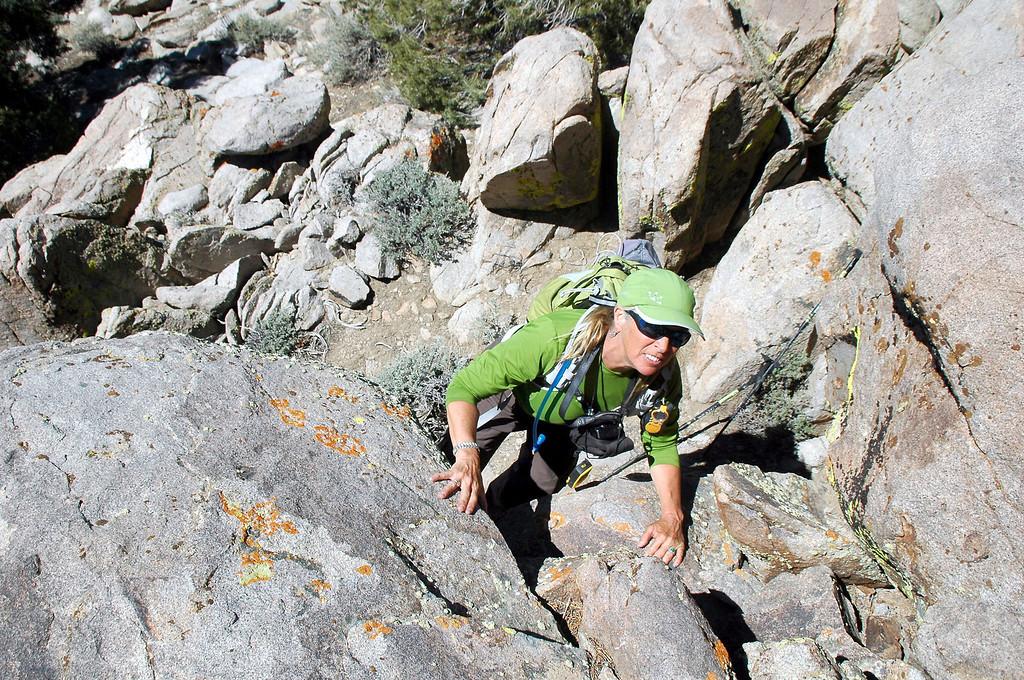 Sooz on a short down climbing section.