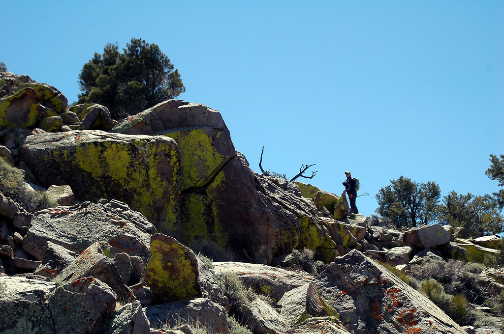 Sooz leading the way through rocks.