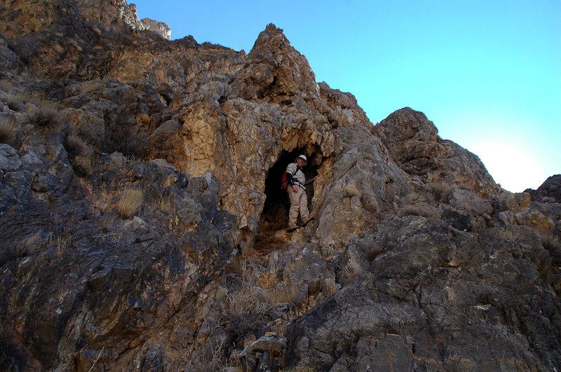 John climbed up to check out one of the many caves that were in this area.