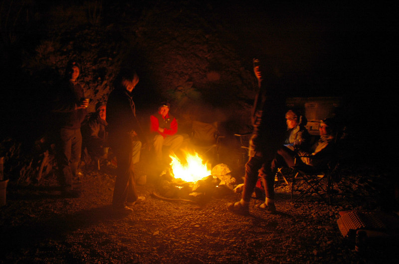 Everyone brought wood, so we were able to have a fire on all three nights. Temps were in the mid thirtys during night.