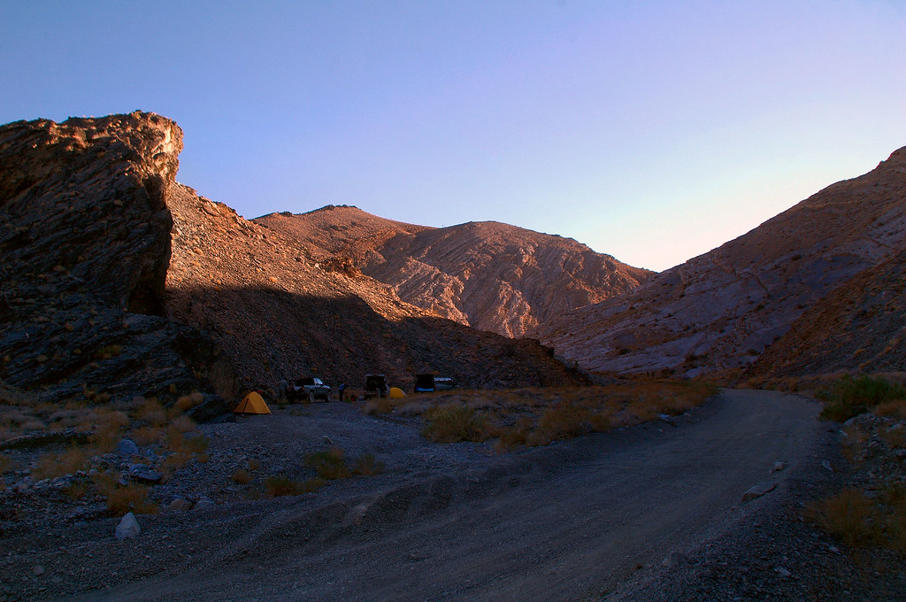 A view of our camp at Lost Burro Gap about a mile and a half east of Teakettle Junction.
