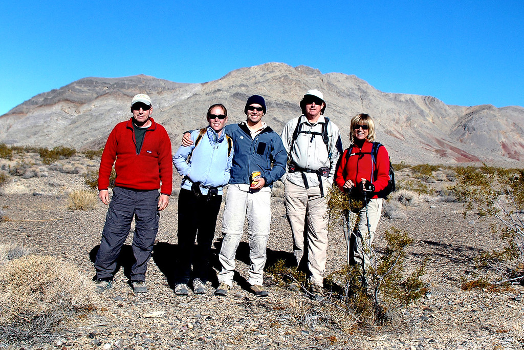 Joe(me), Rebecca, Dave, John and Sooz at the start of our hike up Perdido Canyon which is in the Cottonwood Mountains..