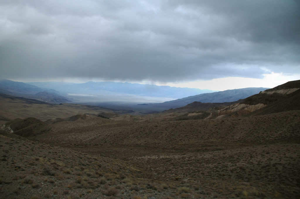 Looked like rain falling to the north. We found out a little later that it was snow.