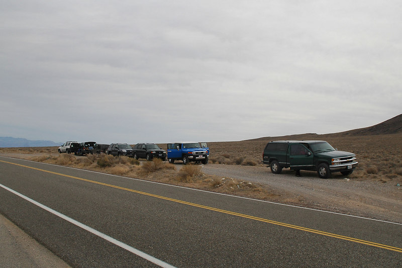 Our vehicles on Towne Pass at 4,956 feet. This is where the hike to Pinto Peak will start from.