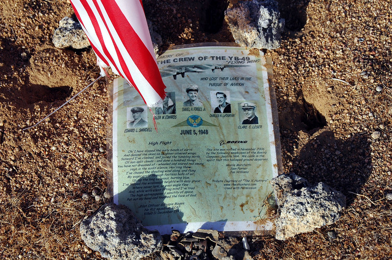 The guys from the X-Hunters placed a memorial in memory of the five men who lost their lives in the accident one of which was Glen W. Edwards whom Edwards Air Froce Base is named after.