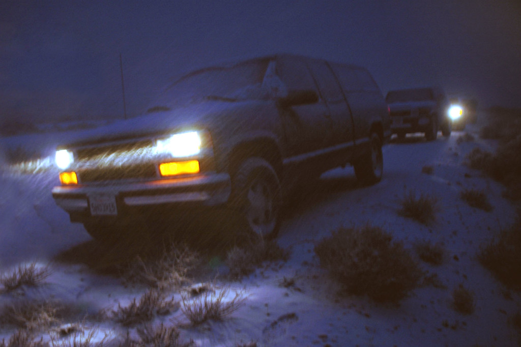 Just as we reached the trucks the sun set and it started snowing really hard.