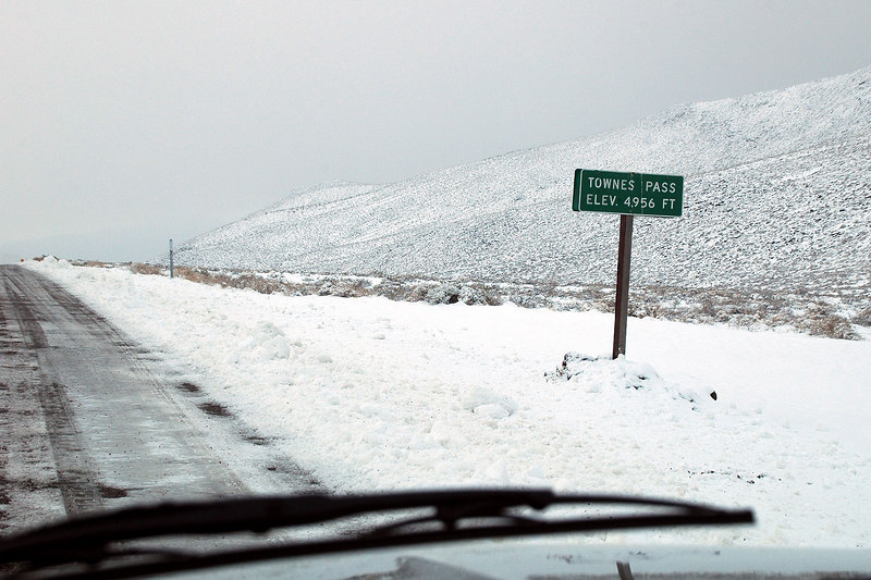 The sign at Towne Pass as we start the drive down.