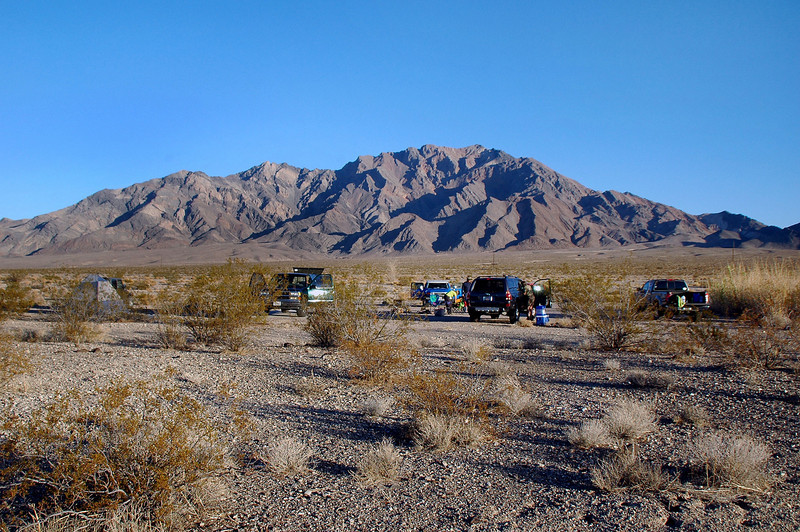 Our camp site at the Trail Park with Pyramid Peak in the background.