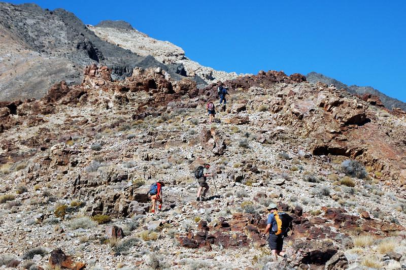 Following the ridge.