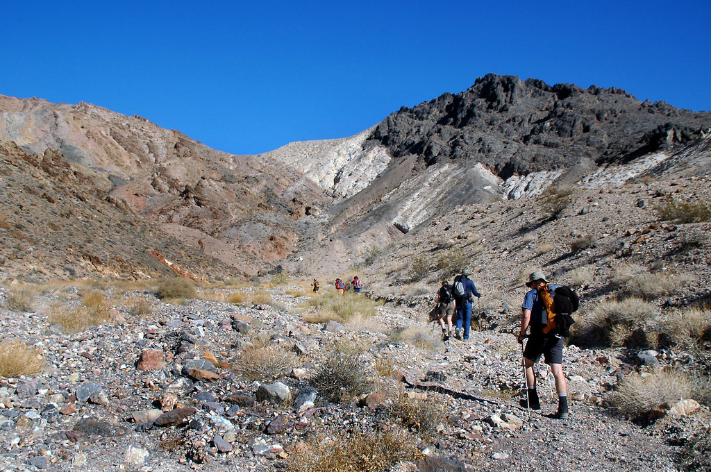 Starting up a canyon that will lead us to the ridge.