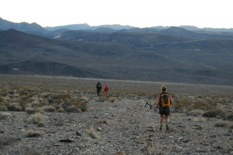 On the two mile hike down the alluvial fan back to the vehicles.