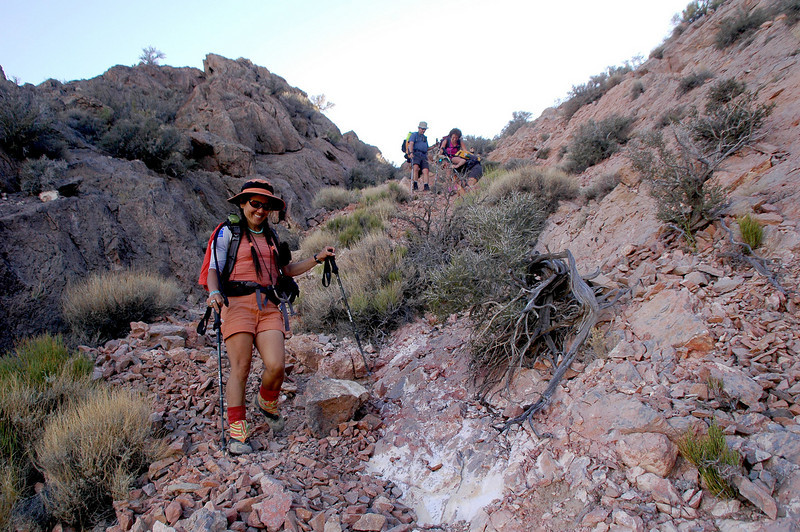 Hiking down the chute below the fossil slope.