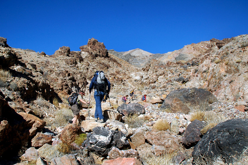 Making our way up the canyon.