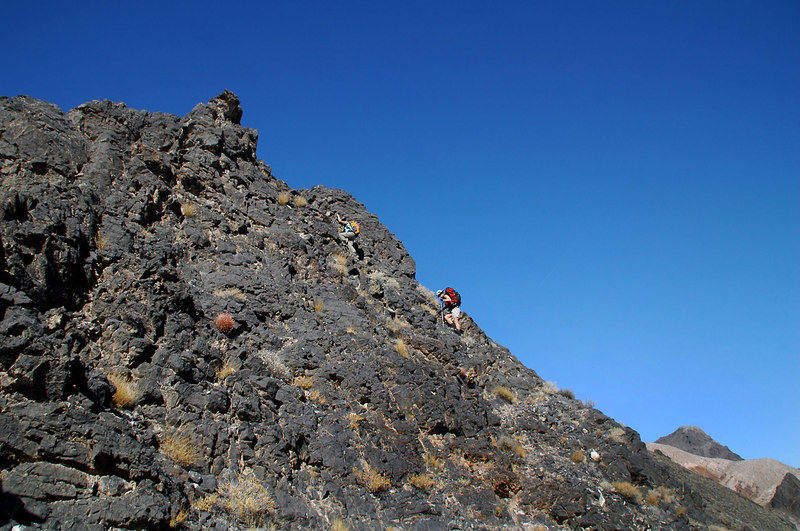 The first section of the ridge had this black rock. It was steep, sharp and hard to pick a path through.