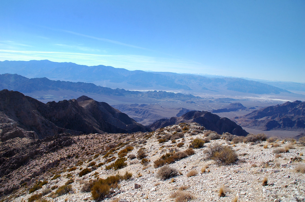 View to the west towards the Panamint Moutains in back and the Black Mountains in front of them.