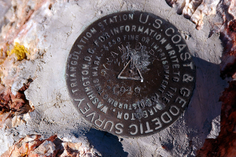 Survey marker on the peak.