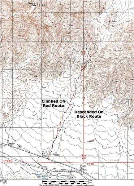 Map showing the routes we used on the hike. The hike ended up being a 11.2 mile round trip with a 3,700 foot gain. <br /> <br /> THE END
