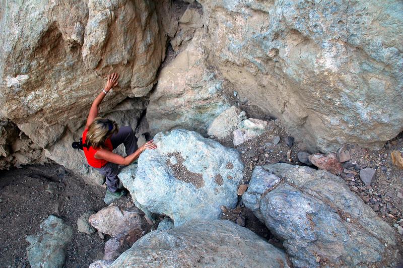 Sooz climbing.