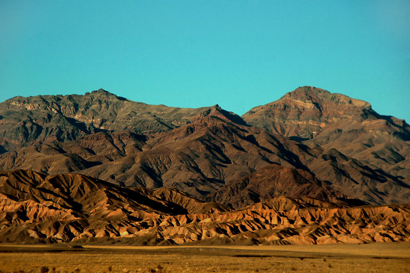 Thimble and Corkscrew Peaks from just past the Stovepipe Wells area.