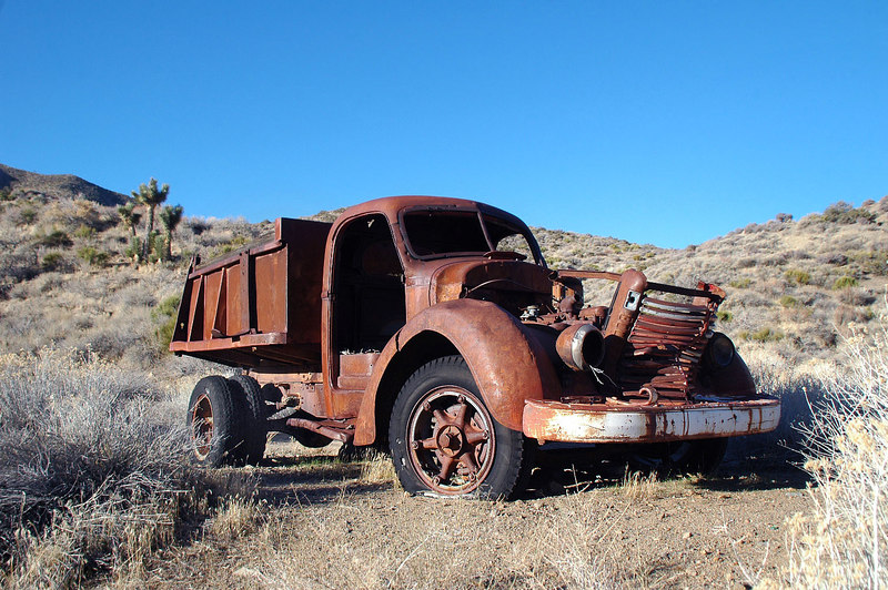 Old dump truck at the mine site.