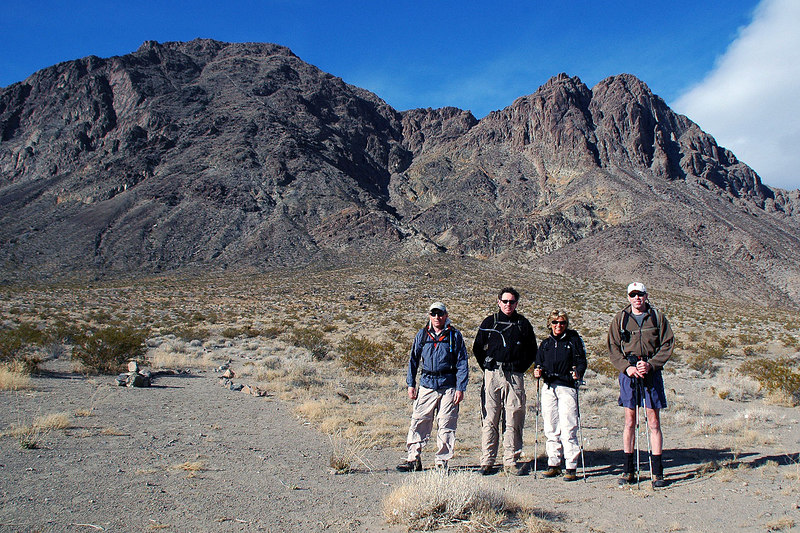 Joe(me), John, Sooz and Ken at the trailhead. Ubehebe is the peak on the left. We met Ken at the trailhead, he spent the night near by.