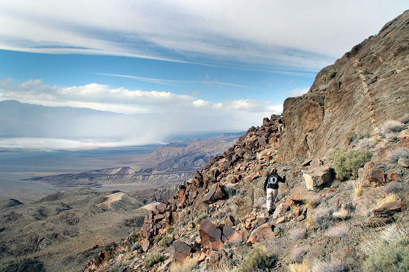 Making our way around the peak north of Ubehebe. Wind is blowing hard here.