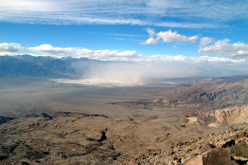 The wind is blowing hard in Saline Valley to the east. Dust coming off Salt Lake.
