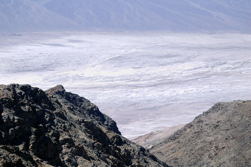 Zoomed in on the Badwater Basin. Somewhere down there is the lowest point in Death Valley at <br /> 282 feet below sea level.