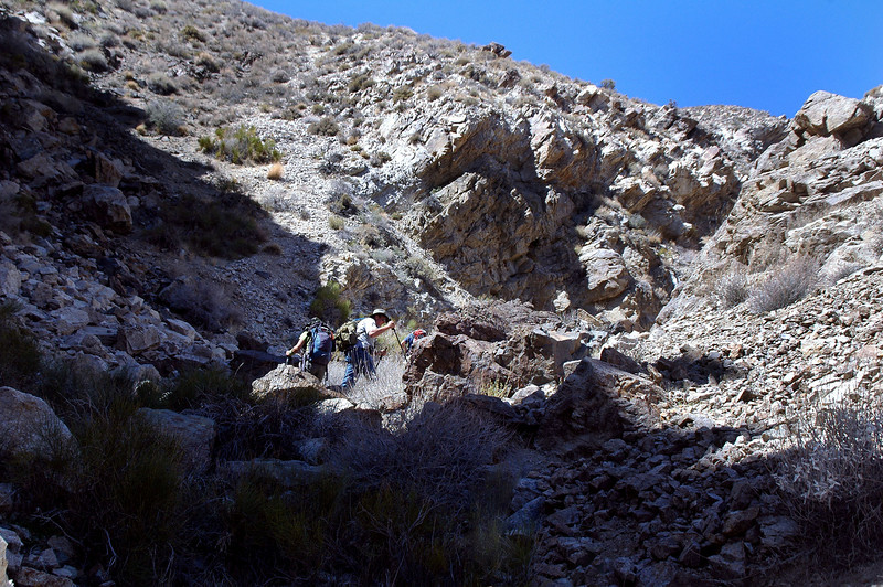 About half way up the canyon we came upon a short steep section.