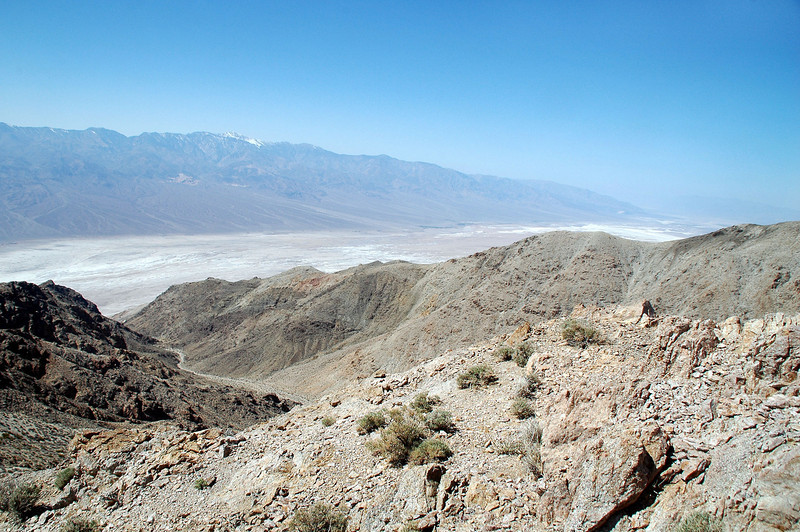 Looking to the northwest across the Badwater Basin to the Panamint Mountains and Telescope Peak.