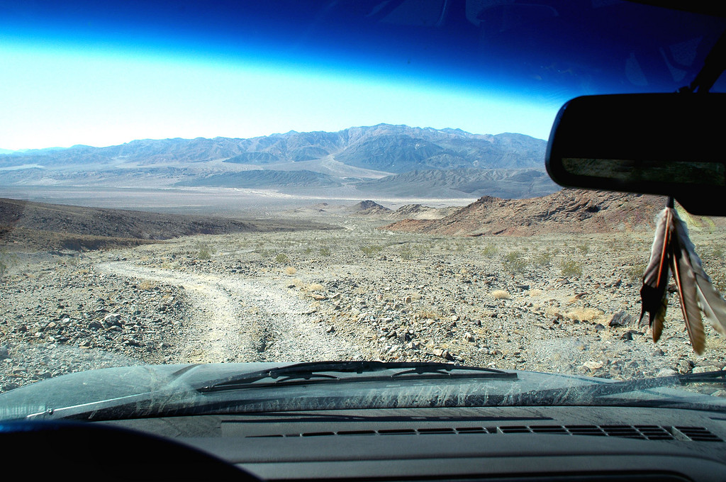 Driving down the mine road.